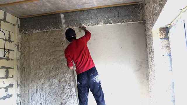 процесс выведения стен в уровень